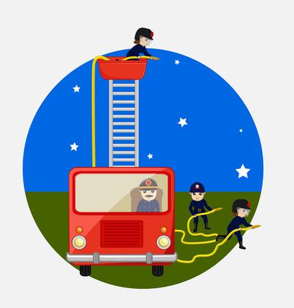 waterpipe: Fire-Brigade Team Vector Illustration Illustration
