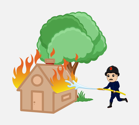 Firefighter Running with Fire Hose to Rescue the Torched House Vector Illustration