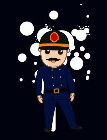 inspector: Cartoon Firefighter Inspector Illustration
