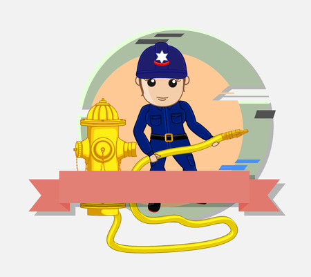 fire hose: Female Firefighter with Fire Hose Vector Illustration