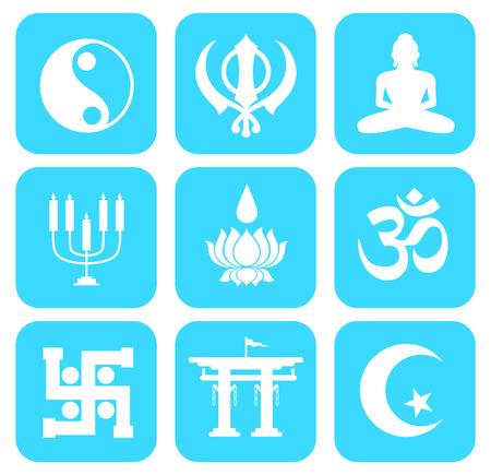 simbolos religiosos: Forma de conjunto de iconos de símbolos religiosos