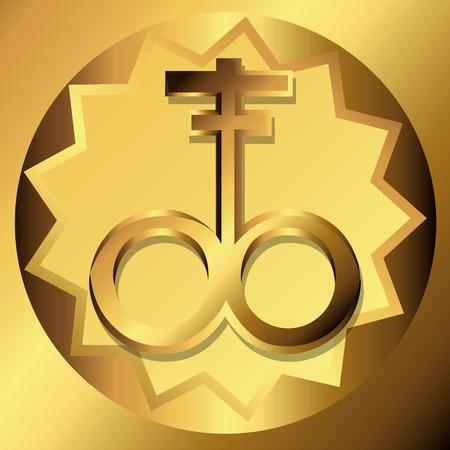 satanic: Satanic Cross Golden Symbols Illustration