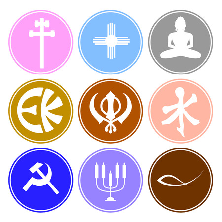 sikhism: Sticker Style Vintage Religious Symbols Illustration