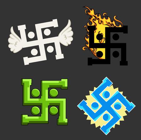 jainism: Swastika Vector Symbols Set