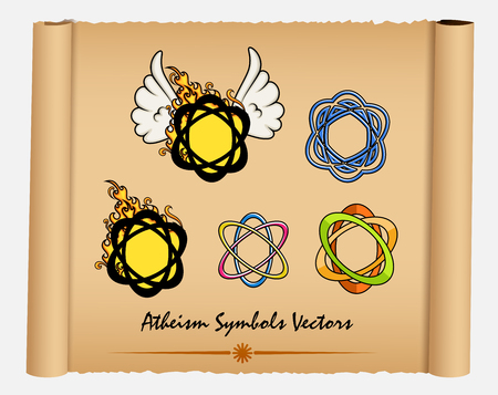 disbelief: Variety of Atheism Symbols Illustration
