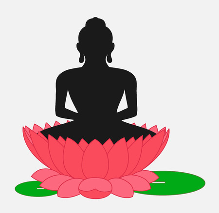 buddha lotus: Buddha on Lotus Flower Illustration