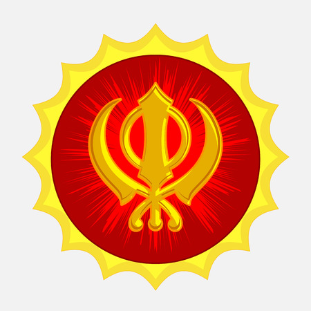 gurudwara: Golden Sikhism Symbol Badge