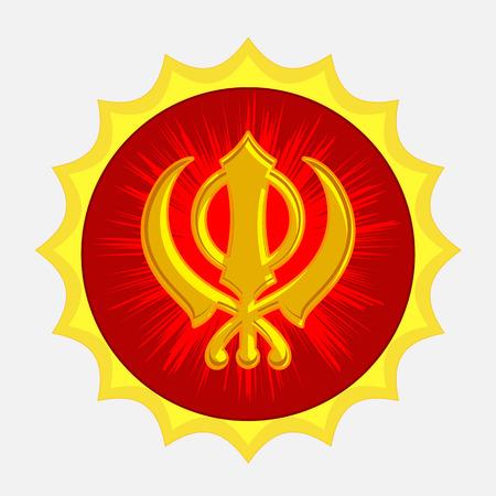sikhism: Golden Sikhism Symbol Badge