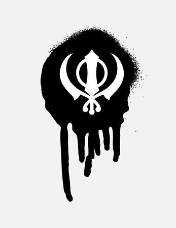 sikhism: Retro Grunge Sikhism Symbol