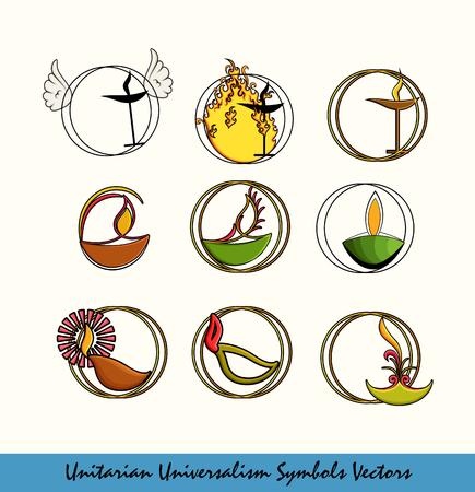 Set van verschillende Unitarian Universalisme Symbolen