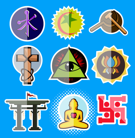 jainism: Set of Spiritual Religious Symbols