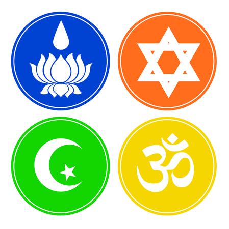 jainism: Set of Four Religious Symbols
