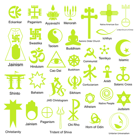 ichthys: Collection of Religious Symbols Shapes Illustration