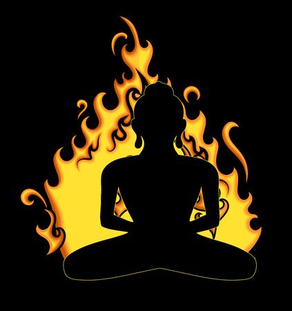 Black Buddha Silhouette Against Fire