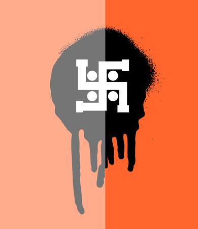 jainism: Swastik Symbol Grunge Banner