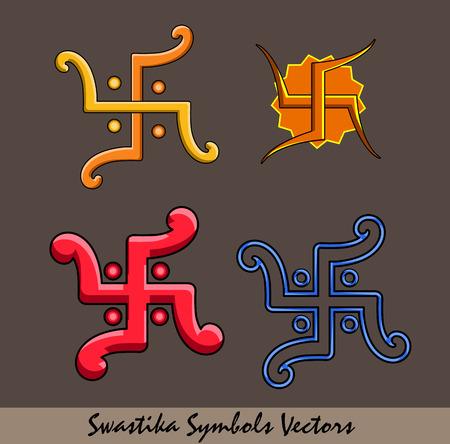 and auspicious: Auspicious Swastika Symbols Set