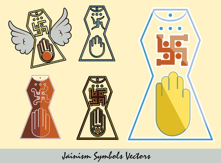 jain: Set of Jainism Symbols Illustration