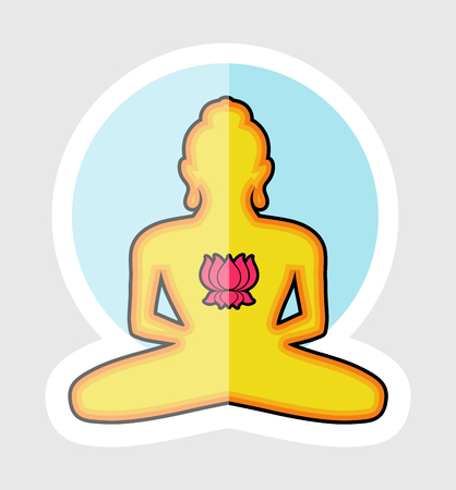 Spiritual Buddha Shape with Lotus Illustration