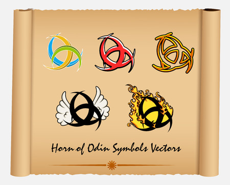 odin: Variety of Horn of Odin Symbols Illustration