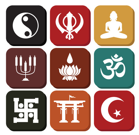 sikhism: Vintage Set of Religious Symbols