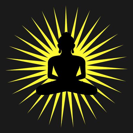 Spiritual Buddhism Silhouette Background Illustration