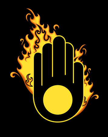 jain: Retro Jainism Symbol with Fire Illustration