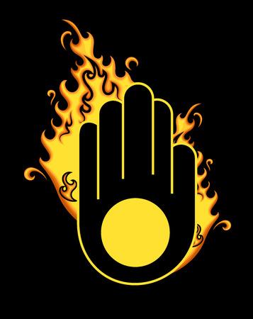ahimsa: Retro Jainism Symbol with Fire Illustration