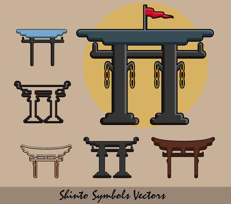 popular belief: Set of Shinto Symbols Illustration