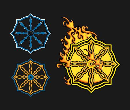 dharma: Wheel Of Dharma Symbols Vector