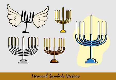 Happy Hanukkah - Hanukkah Symbols Illustration