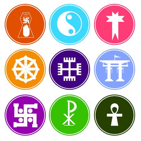 jainism: Colorful Symbolic Religious Symbols