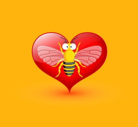 Funny Wasp Isolated on Heart Illustration