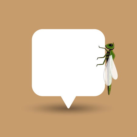 antenna dragonfly: Dragonfly Isolated on Speech Banner Illustration