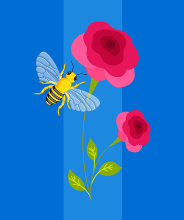 bee on flower: Bee Hover on Flower