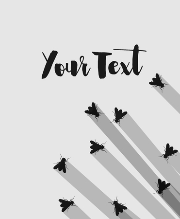 crawling creature: Flies Silhouettes Vector Background