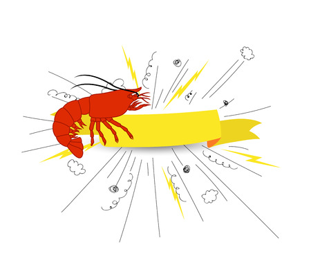 Shrimp Fish Vector Banner Illustration