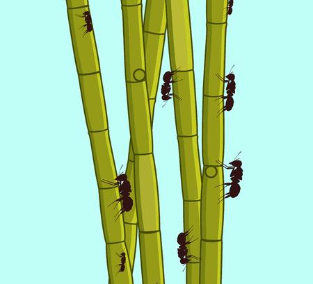 sugarcane: Ants Climbing on Sugarcane Sticks Illustration