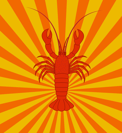 crawfish: Lobster Isolated on Retro Background