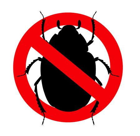 prohibido: Símbolo Prohibida escarabajos Vectores