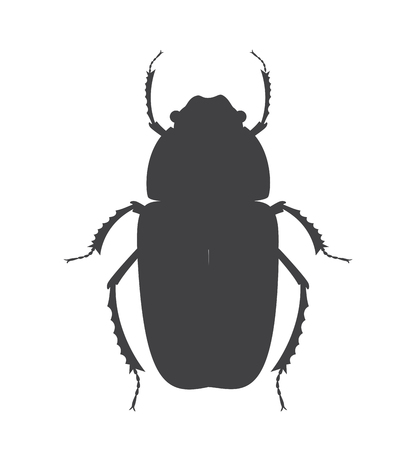 arthropoda: Ugly Beetle Insect Vector Silhouette Illustration