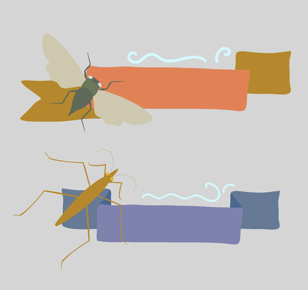 Vintage Insects Banners Illustration