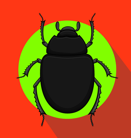 Creepy Black Scarab Beetle Insect Illustration
