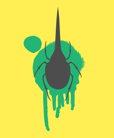 maggot: Hercules Beetle Insect Vector Silhouette