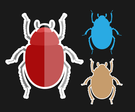 Scarab Beetle Insects Vectors Illustration