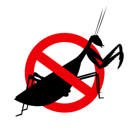 mantid: Mantid Insect Prohibited Sign Illustration