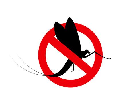 prohibido: Signo de la efímera del insecto Prohibida