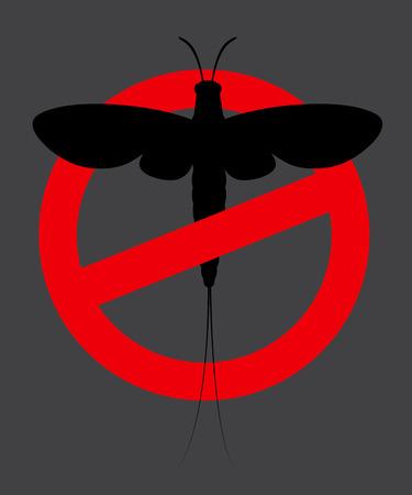 prohibido: Signo de la efímera del insecto vector Prohibida