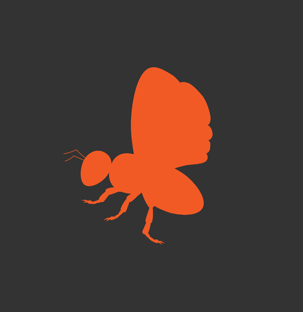 crawling creature: Red Bee Silhouette