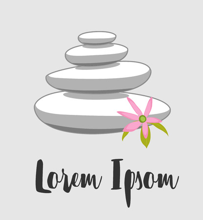 stones with flower: White Spa Zen Stones with Flower Illustration