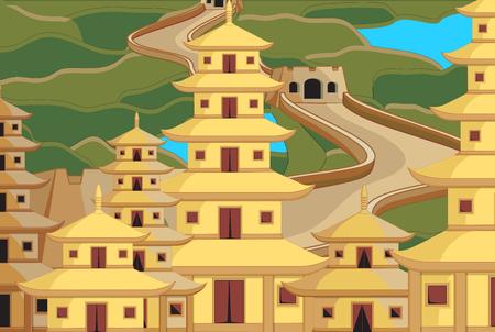 China City Buildings Illustration